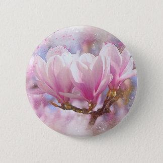Bloeiende Roze Paarse Magnolia - de Bloem van de Ronde Button 5,7 Cm
