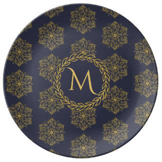 Bloeit de gouden marine van de winter het monogram borden van porselein