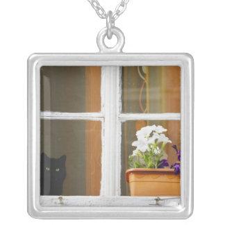 Bloem door het venster, Sighisoara, Roemenië Zilver Vergulden Ketting