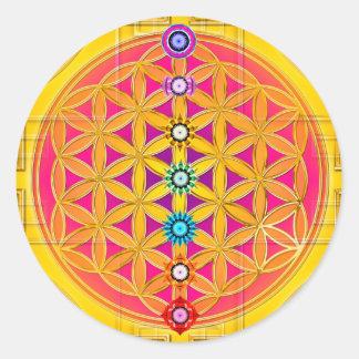 BLOEM VAN het LEVEN/Blume des Lebens - chakras Ronde Sticker