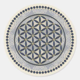Bloem van het Leven/Blume des Lebens - Knoop IX Ronde Sticker