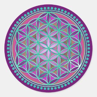 Bloem van het Leven/Blume des Lebens - Knoop VI Ronde Sticker