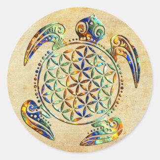 Bloem van het Leven/Blume des Lebens - schildpad Ronde Sticker