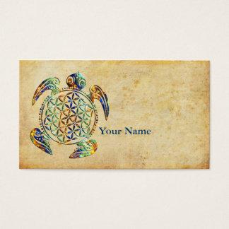 Bloem van het Leven/Blume des Lebens - schildpad Visitekaartjes