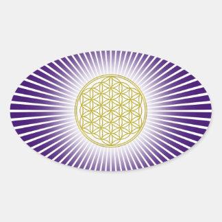Bloem van het Leven/Blume des Lebens - witte Ovale Sticker