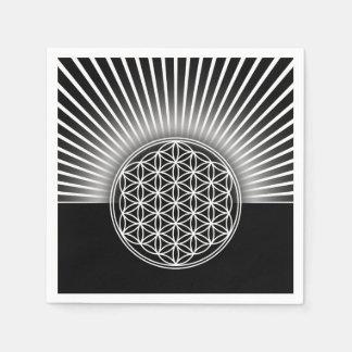 Bloem van het Leven/Blume des Lebens - witte Papieren Servet