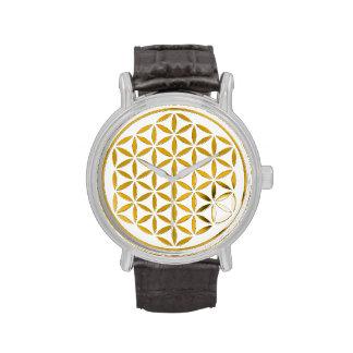 Bloem van het Leven - goud - zegel Horloge