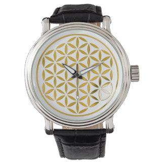 Bloem van het Leven - goud - zegel Horloges