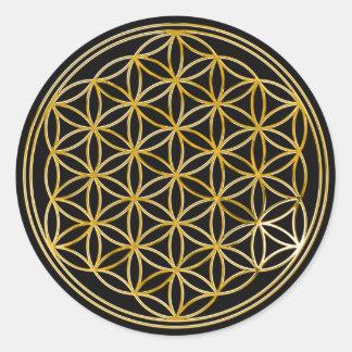 Bloem van het Leven | gouden, kleine | zwarte Ronde Sticker