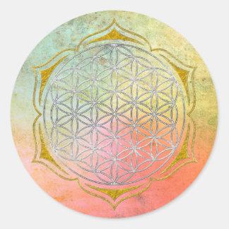 Bloem van het Leven - het zilveren goud van Lotus Ronde Sticker