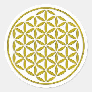 Bloem van het Leven - zegelgoud + uw backgr. & Ronde Stickers