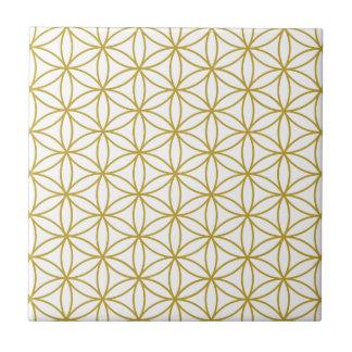 Bloem van het Patroon van het Leven - Goud op Wit Tegeltje