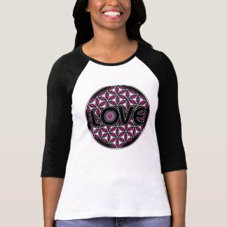 Bloem van overhemd van het de liefde het roze t shirt