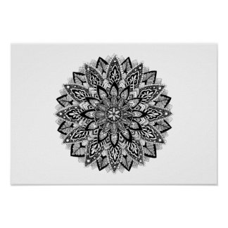 Bloem zwart-witte Mandala Poster