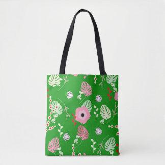 Bloemen, bladeren en kleine pelikanen draagtas