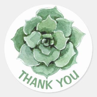 Bloemen dank u de Groene Succulente Cactus van de Ronde Sticker