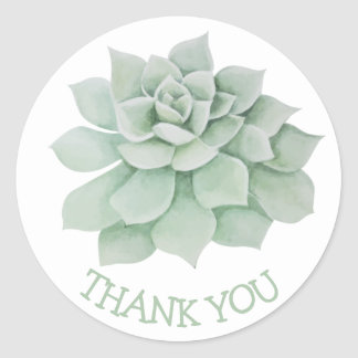 Bloemen dank u Groene Succulente Cactus Ronde Sticker