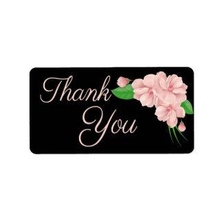 Bloemen dank u Roze & Zwarte Bloem - Huwelijk Addressticker