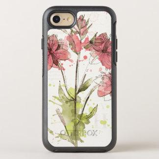Bloemen Donkere Roze Plons OtterBox Symmetry iPhone 8/7 Hoesje
