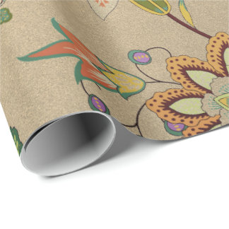 Bloemen Gevoelige Oosterse Tuin Gouden Kraftpapier Inpakpapier
