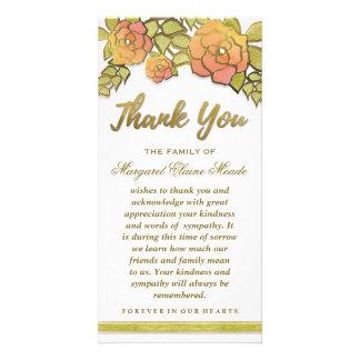 Bloemen Gouden Elegant dankt u de Kaart van de