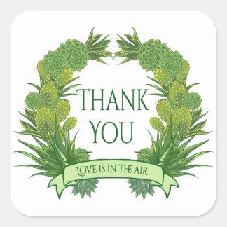 Bloemen Groen dankt u het Succulente Zuidwesten Vierkante Sticker