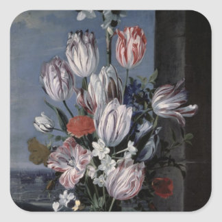 Bloemen in een Vaas van het Kristal, 1652 Vierkante Sticker