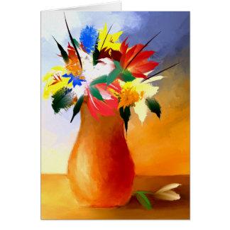 Bloemen in een Wenskaart van de Vaas
