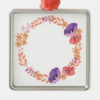 Bloemen kroon zilverkleurig vierkant ornament