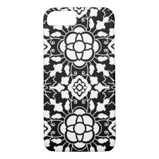Bloemen Marokkaanse Zwart-witte Tegel, iPhone 7 Hoesje
