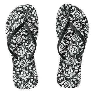 Bloemen Marokkaanse Zwart-witte Tegel, Teenslippers