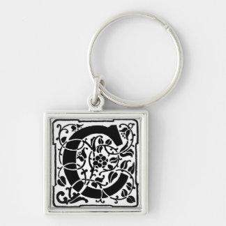 """Bloemen Monogram """"C"""" - Keychain Sleutelhanger"""