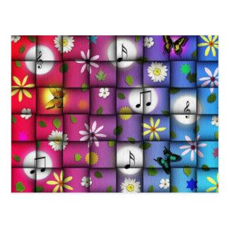 Bloemen Muzikale Plaid Briefkaart