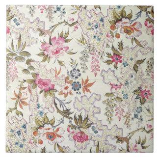 Bloemen ontwerp voor zijdemateriaal met gestileerd tegeltje vierkant large
