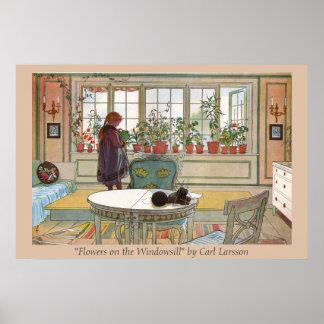 Bloemen op de Druk van de Kunst van Carl Larsson Poster