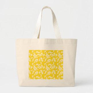 Bloemen op gele honing grote draagtas