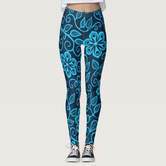 Bloemen Patroon in de Blauwe Yoga van   Leggings