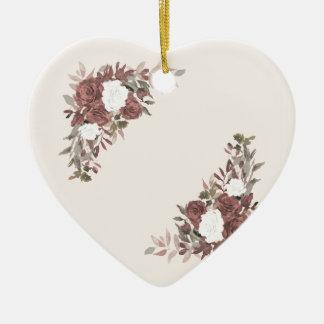 Bloemen Regeling in Roze en Mauve Keramisch Hart Ornament