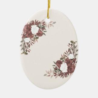 Bloemen Regeling in Roze en Mauve Keramisch Ovaal Ornament