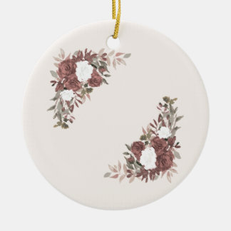 Bloemen Regeling in Roze en Mauve Rond Keramisch Ornament