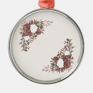Bloemen Regeling in Roze en Mauve Zilverkleurig Rond Ornament