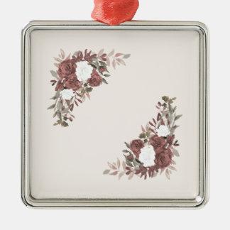 Bloemen Regeling in Roze en Mauve Zilverkleurig Vierkant Ornament
