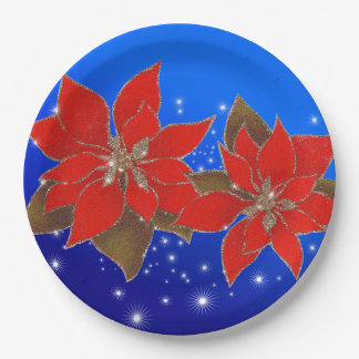 Bloemen rood van Kerstmis op blauwe bodem Papieren Bordjes