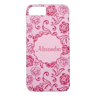 Bloemen roosterpatroon van theerozen op roze naam iPhone 8/7 hoesje