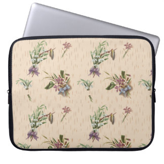 Bloemen Tan van de Bloem van Bogen Blauwe Paars Laptop Sleeve