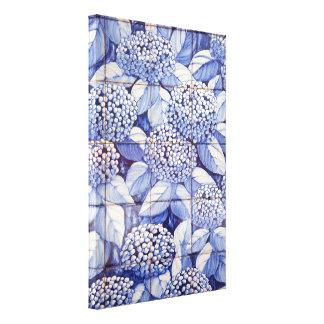 Bloemen tegels canvas afdruk