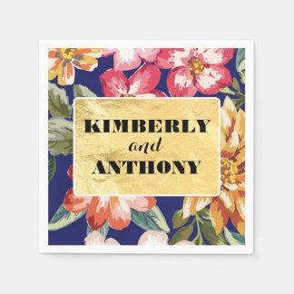 bloemen tropische strandmarine en gouden huwelijk wegwerp servet