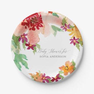 Bloemen van de Herfst van de Waterverf van het Papieren Bordje