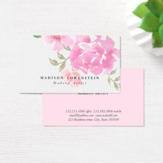 Bloemen van de Pioenen van de waterverf de Roze Visitekaartjes