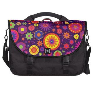 Bloemen van de Regenboog van de hippie de Paarse Laptop Schoudertas